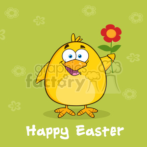 8604 Royalty Free RF Clipart Illustration Happy Easter With Yellow Chick Cartoon Character With A Red Daisy Flower Vector Illustration With Background