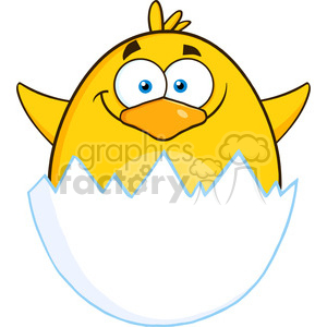 8593 Royalty Free RF Clipart Illustration Surprise Yellow Chick Cartoon Character Out Of An Egg Shell Vector Illustration Isolated On White clipart. Royalty-free image # 396106