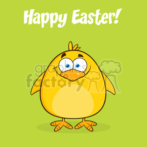 8589 Royalty Free RF Clipart Illustration Happy Easter With Smiling Yellow Chick Cartoon Character Vector Illustration clipart. Royalty-free image # 396116