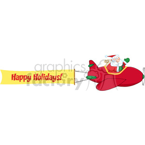 8208 Royalty Free RF Clipart Illustration Santa Flying With Christmas Plane And A Blank Banner With Text Happy Holidays clipart. Royalty-free image # 396126