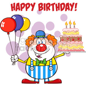 Royalty Free RF Clipart Illustration Happy Birthday With Clown Cartoon Character With Balloons And Cake With Candles clipart. Royalty-free image # 396176