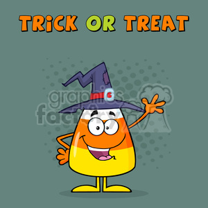 8888 Royalty Free RF Clipart Illustration Smiling Candy Corn Cartoon Character With A Witch Hat Waving Vector Illustration Isolated On White And Text clipart. Commercial use image # 396186