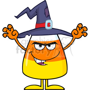 8881 Royalty Free RF Clipart Illustration Scaring Halloween Candy Corn With A Witch Hat And Text Vector Illustration Isolated On White