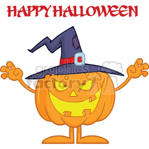 Scaring Halloween Pumpkin With A Witch Hat And Text clipart. Commercial use image # 396206