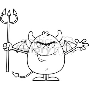 8961 Royalty Free RF Clipart Illustration Black And White Angry Devil Cartoon Character Character Holding A Pitchfork Vector Illustration Isolated On White