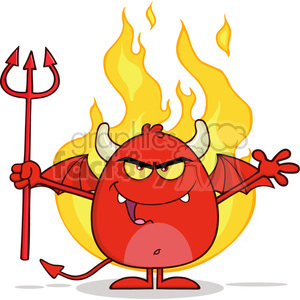 8963 Royalty Free RF Clipart Illustration Angry Red Devil Cartoon Character Character Holding A Pitchfork Over Flames Vector Illustration Isolated On White