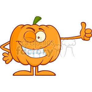 Royalty Free RF Clipart Illustration Winking Halloween Pumpkin Mascot Character Giving A Thumb Up clipart. Royalty-free image # 396266