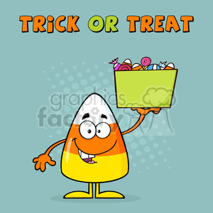 8878 Royalty Free RF Clipart Illustration Smiling Candy Corn Cartoon Character Holds A Box With Candys Vector Illustration With Background And Text