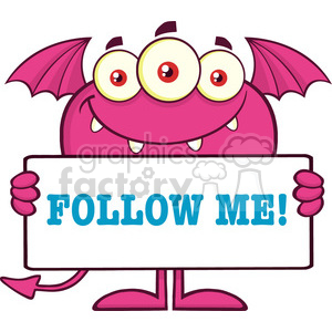 8921 Royalty Free RF Clipart Illustration Smiling Pink Monster Cartoon Character Holding A Follow Me Sign Vector Illustration Isolated On White