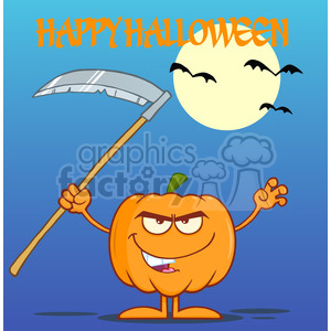 Royalty Free RF Clipart Illustration Scaring Halloween Pumpkin With A Scythe Greeting Card