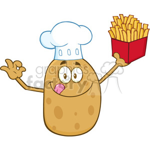 8786 Royalty Free RF Clipart Illustration Chef Potato Cartoon Character Gesturing Ok And Holding Fries Vector Illustration Isolated On White clipart. Royalty-free image # 396326