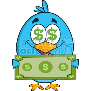 8837 Royalty Free RF Clipart Illustration Happy Blue Bird Cartoon Character Showing A Dollar Bill Vector Illustration Isolated On White clipart. Royalty-free image # 396340