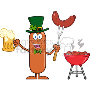 Smiling Leprechaun Sausage Cartoon Character Holding A Beer And Weenie Next To BBQ clipart. Commercial use image # 396346