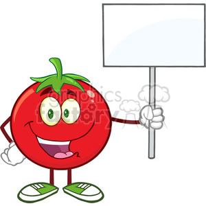 8394 Royalty Free RF Clipart Illustration Red Tomato Cartoon Mascot Character Holding Up A Blank Sign Vector Illustration Isolated On White clipart. Royalty-free image # 396380
