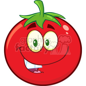 8385 Royalty Free RF Clipart Illustration Smiling Tomato Cartoon Mascot Character Vector Illustration Isolated On White clipart. Commercial use image # 396382