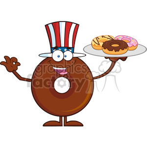8724 Royalty Free RF Clipart Illustration American Chocolate Donut Cartoon Character Serving Donuts Vector Illustration Isolated On White clipart. Royalty-free image # 396406