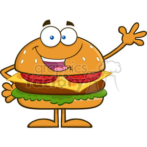 8561 Royalty Free RF Clipart Illustration Happy Hamburger Cartoon Character Waving Vector Illustration Isolated On White clipart. Royalty-free image # 396420