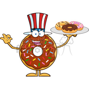 8704 Royalty Free RF Clipart Illustration American Chocolate Donut Cartoon Character Serving Donuts Vector Illustration Isolated On White clipart. Commercial use image # 396432