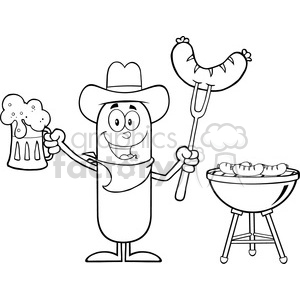 8459 Royalty Free RF Clipart Illustration Black And White Cowboy Sausage Cartoon Character Holding A Beer And Weenie Next To BBQ Vector Illustration Isolated On White clipart. Royalty-free image # 396458