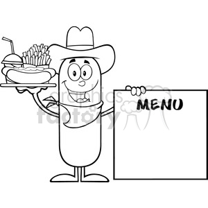 8497 Royalty Free Black And White Cowboy Sausage Cartoon Character Carrying A Hot Dog, French Fries And Cola Next To Menu Board Vector Illustration Isolated On White clipart. Commercial use image # 396464