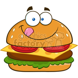 8517 Royalty Free RF Clipart Illustration Hungry Hamburger Cartoon Character Licking His Lips Vector Illustration Isolated On White clipart. Commercial use image # 396478