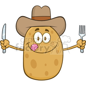 8797 Royalty Free RF Clipart Illustration Cowboy Potato Cartoon Character With Knife And Fork Vector Illustration Isolated On White clipart. Royalty-free image # 396500