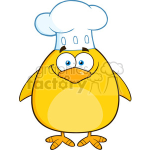 8609 Royalty Free RF Clipart Illustration Chef Yellow Chick Cartoon Character Vector Illustration Isolated On White