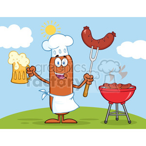 8464 Royalty Free RF Clipart Illustration Happy Chef Sausage Cartoon Character Holding A Beer And Weenie Next To BBQ Vector Illustration Isolated On White