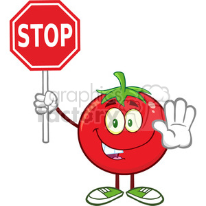 8399 Royalty Free RF Clipart Illustration Tomato Cartoon Mascot Character Gesturing And Holding A Stop Sign Vector Illustration Isolated On White clipart. Commercial use image # 396530