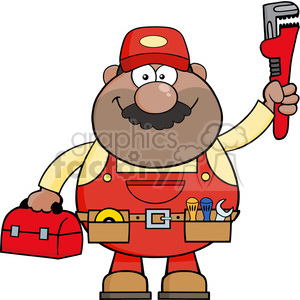 8537 Royalty Free RF Clipart Illustration African American Mechanic Cartoon Character With Wrench And Tool Box Vector Illustration Isolated On White clipart. Royalty-free image # 396554