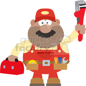 8541 Royalty Free RF Clipart Illustration African American Mechanic Cartoon Character With Wrench And Tool Box Flat Style Vector Illustration Isolated On White