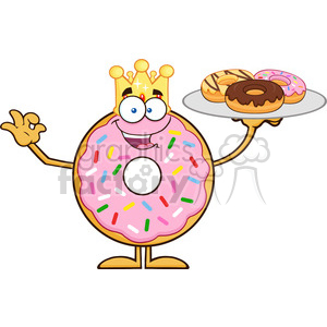 8683 Royalty Free RF Clipart Illustration King Donut Cartoon Character Serving Donuts Vector Illustration Isolated On White clipart. Commercial use image # 396588
