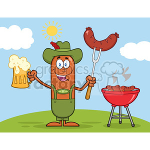 Illustration of German Oktoberfest Sausage Cartoon Character Holding A Beer And Weenie Next To BBQ Vector clipart. Commercial use image # 396602