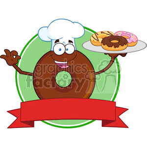 8726 Royalty Free RF Clipart Illustration Chef Chocolate Donut Cartoon Character Serving Donuts Circle Label Vector Illustration Isolated On White clipart. Commercial use image # 396614