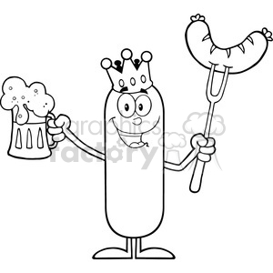 8451 Royalty Free RF Clipart Illustration Black And White Happy King Sausage Cartoon Character Holding A Beer And Weenie On A Fork Vector Illustration Isolated On White clipart. Royalty-free image # 396618