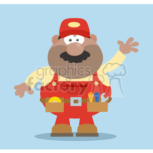 clipart - 8532 Royalty Free RF Clipart Illustration African American Mechanic Cartoon Character Waving For Greeting Flat Style Vector Illustration With Background.