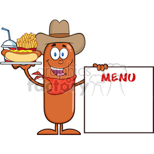 8498 Royalty Free RF Clipart Illustration Cowboy Sausage Cartoon Character Carrying A Hot Dog, French Fries And Cola Next To Menu Board Vector Illustration Isolated On White clipart. Royalty-free image # 396670
