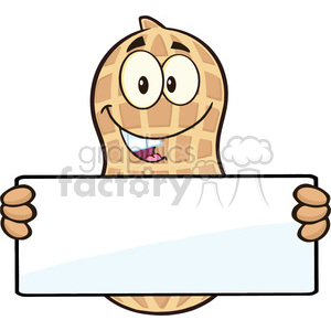 8737 Royalty Free RF Clipart Illustration Peanut Cartoon Mascot Character Holding a Blank Sign Vector Illustration Isolated On White clipart. Royalty-free image # 396700