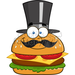 8518 Royalty Free RF Clipart Illustration Smiling Hamburger Cartoon Character Gentleman With Cylinder Hat And Mustache Vector Illustration Isolated On White clipart. Royalty-free image # 396702