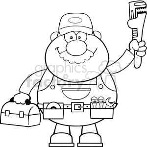 8534 Royalty Free RF Clipart Illustration Black And White Mechanic Cartoon Character With Wrench And Tool Box Vector Illustration Isolated On White clipart. Commercial use image # 396736