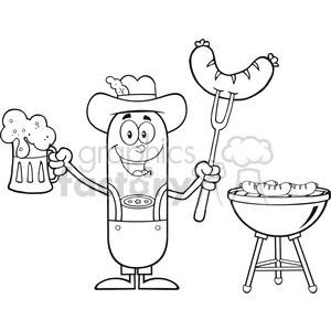 8465 Royalty Free RF Clipart Illustration Black And White German Oktoberfest Sausage Cartoon Character Holding A Beer And Weenie Next To BBQ Vector Illustration Isolated On White