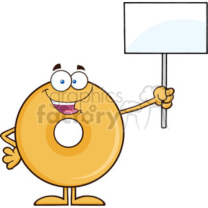 8658 Royalty Free RF Clipart Illustration Happy Donut Cartoon Character Holding Up A Blank Sign Vector Illustration Isolated On White clipart. Commercial use image # 396760
