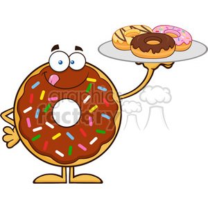 8701 Royalty Free RF Clipart Illustration Chocolate Donut Cartoon Character Serving Donuts Vector Illustration Isolated On White clipart. Royalty-free image # 396778