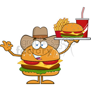 8573 Royalty Free RF Clipart Illustration Cowboy Hamburger Cartoon Character Holding A Platter With Burger, French Fries And A Soda Vector Illustration Isolated On White clipart. Commercial use image # 396792