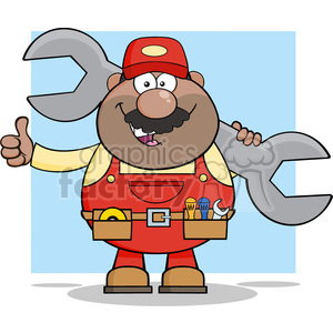 8547 Royalty Free RF Clipart Illustration African American Mechanic Cartoon Character Holding Huge Wrench And Giving A Thumb Up Vector Illustration With Background clipart. Royalty-free image # 396818