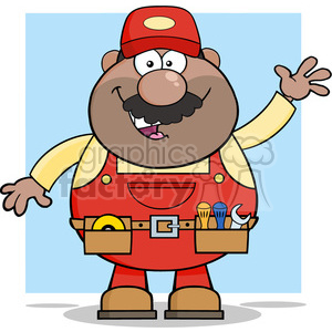 8527 Royalty Free RF Clipart Illustration Smiling African American Mechanic Cartoon Character Waving For Greeting Vector Illustration With Background clipart. Commercial use image # 396854