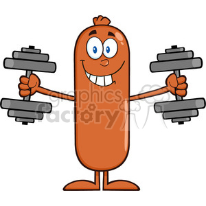 8430 Royalty Free RF Clipart Illustration Smiling Sausage Cartoon Character Training With Dumbbells Vector Illustration Isolated On White clipart. Commercial use image # 396858