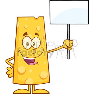 8512 Royalty Free RF Clipart Illustration Happy Cheese Cartoon Character Holding A Blank Sign Vector Illustration Isolated On White clipart. Commercial use image # 396860