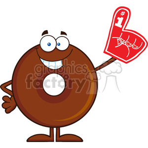 8719 Royalty Free RF Clipart Illustration Smiling Chocolate Donut Cartoon Character Wearing A Foam Finger Vector Illustration Isolated On White clipart. Commercial use image # 396862