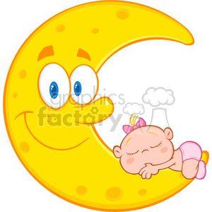 Royalty Free RF Clipart Illustration Cute Baby Girl Sleeps On The Smiling Moon Cartoon Characters clipart. Royalty-free image # 396876